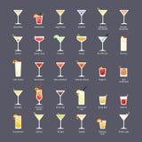 Cócteles alcohólicos, cócteles oficiales de IBA el Unforgettables Los iconos fijaron en estilo plano en fondo oscuro ilustración del vector