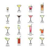 Cócteles alcohólicos con títulos Cócteles oficiales de IBA, nuevas bebidas de la era Iconos fijados en estilo plano Fotos de archivo