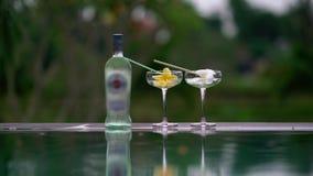 Cócteles alcohólicos en la piscina en país tropical almacen de video