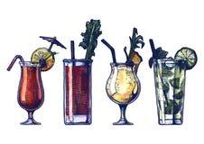 Cócteles del alcohol de la acuarela fijados Foto de archivo libre de regalías