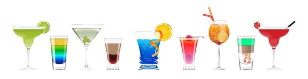 Cócteles del alcohol fijados stock de ilustración