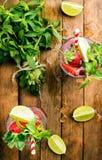 Cócteles del verano del mojito de la fresa con la menta y la cal en vidrios Foto de archivo