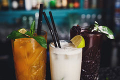 Cócteles exóticos creativos del alcohol en barra del club de noche Fotografía de archivo