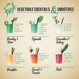 Cócteles y Smoothies de las verduras frescas Fotos de archivo libres de regalías