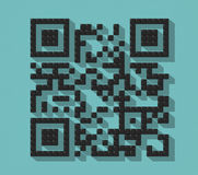 Código abstrato do cubo QR com sombra rendição 3d Foto de Stock Royalty Free