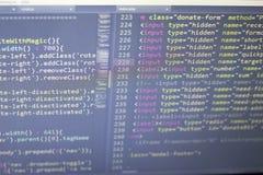 Código anticipado del Javascript Código fuente de la programación informática Pantalla abstracta del desarrollador de web Imagenes de archivo