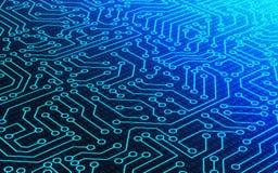 Código azul de la textura del modelo de la placa de circuito y de datos del número binario stock de ilustración