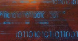 Código binário azul contra a rocha da montanha no por do sol Fotografia de Stock Royalty Free
