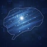Código binário Brain Concept Background Imagem de Stock
