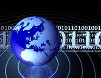 Código binário com globo Fotografia de Stock Royalty Free