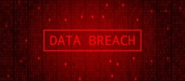 Código binário de Digitas em escuro - BG vermelha Ruptura dos dados ilustração stock