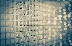 1-0 código binário de Digitas, lâmpadas análogas, tela Imagens de Stock