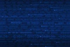 Código binário do computador no azul Fotografia de Stock Royalty Free