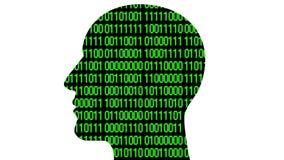 código binário do estilo da matriz da cabeça do cérebro 4k, homem que pensa a inteligência artificial do AI ilustração royalty free