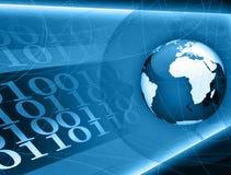 Código binário do globo azul Ilustração Stock