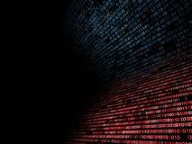 Código binário e hexadecimal acima de um tela de computador no fundo preto Dígitos azuis imagens de stock royalty free