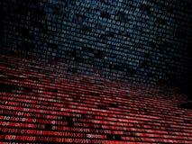 Código binário e hexadecimal acima de um tela de computador no fundo preto Dígitos azuis fotos de stock royalty free