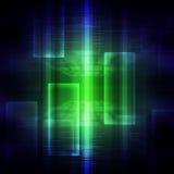Código binário verde e azul no preto Fotografia de Stock