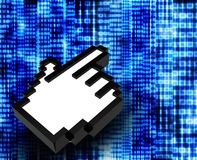Código binario abstracto con el icono de la mano Foto de archivo libre de regalías