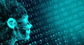 Código binario abstracto de Mesh Of Human Head On de la conexión de red Imágenes de archivo libres de regalías
