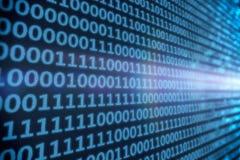 Código binario - azul Fotografía de archivo