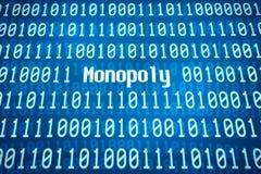 Código binario con el monopolio de la palabra Imagen de archivo