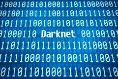 Código binario con la palabra Darknet Imagen de archivo libre de regalías