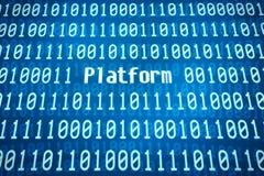 Código binario con la plataforma de la palabra Imagen de archivo