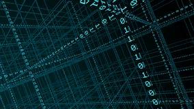 código binario 3D que forma una red libre illustration