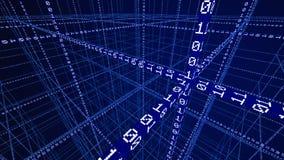 código binario 3D que forma una red ilustración del vector