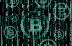 Código binario de Bitcoin La tecnología de la cadena de bloque representación 3d libre illustration
