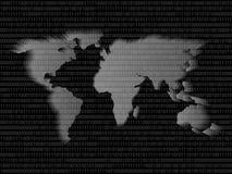 Código binario de la muestra del mapa del mundo de Digitaces con los dígitos binarios 1 y 0 ilustración del vector