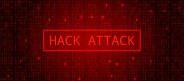 Código binario de la tecnología del extracto rojo oscuro Ataque del pirata informático ilustración del vector
