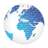 Código binario de los datos grandes por todo el mundo ilustración del vector