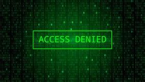 Código binario en el contexto verde oscuro Acceso negado ilustración del vector