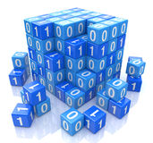 Código binario en el cubo azul digital, imagen 3d Foto de archivo libre de regalías
