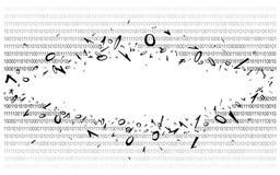 Código binario en v2 blanco Imagen de archivo libre de regalías