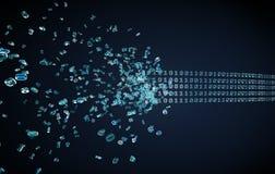 Código binario que fluye en obscuridad Imágenes de archivo libres de regalías