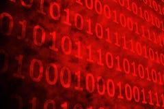Código binario rojo brillante Fotos de archivo libres de regalías