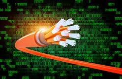 Código binario y fibra óptica stock de ilustración