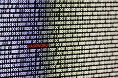 Código binario y palabra de paso. Imagenes de archivo