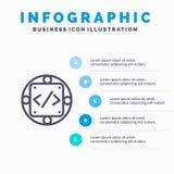 Código, costume, aplicação, gestão, ícone da linha de produtos com fundo do infographics da apresentação de 5 etapas ilustração do vetor
