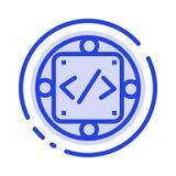 Código, costume, aplicação, gestão, linha pontilhada azul linha ícone do produto ilustração royalty free