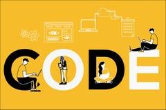 Código creativo y gente del concepto de la palabra que hacen cosas ilustración del vector