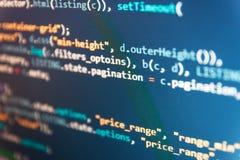 Código Css3 em um fundo colorido Programador Typing New Lines do código do HTML Programação de software que cria projetos Sumário fotografia de stock