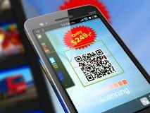 Código da exploração QR de Smartphone fotografia de stock royalty free