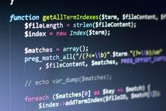 Código da parte posterior do PHP Código fonte da programação informática Tela abstrata do programador web Fundo moderno da tecnol fotografia de stock royalty free