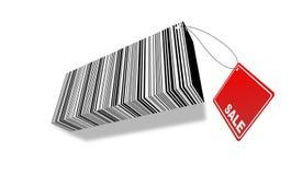 código de barras 3d com etiqueta da venda Fotografia de Stock