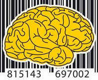 Código de barras Brain Yellow Foto de Stock Royalty Free