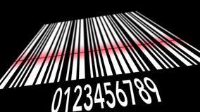 Código de barras branco de varredura no fundo preto ilustração do vetor